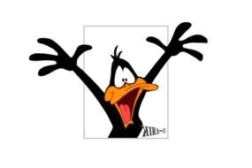 Daffy Duck with wide open beak