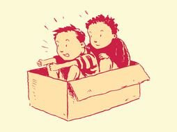 two Kids In Box, vintage drawing