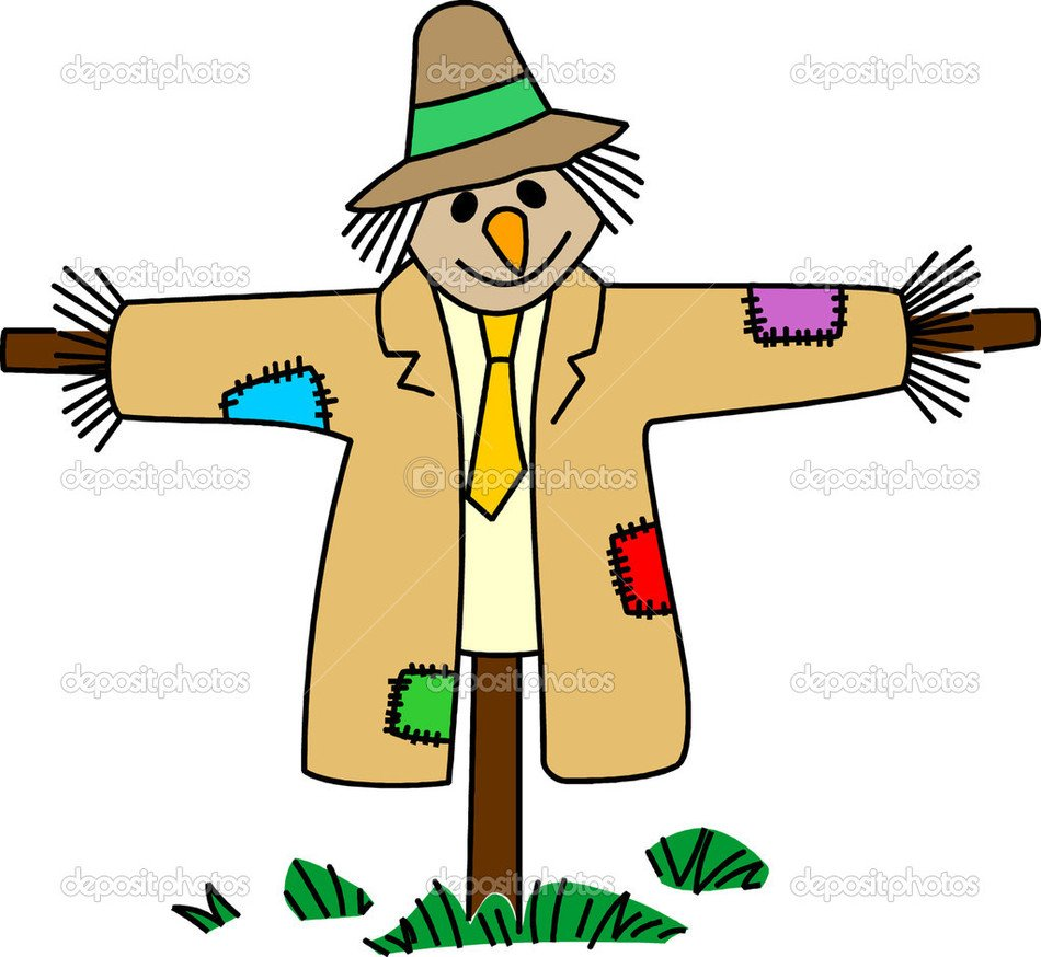 Colorful cartoon scarecrow clipart