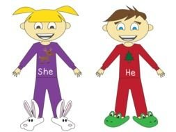 she and he Pronoun Clip Art drawing