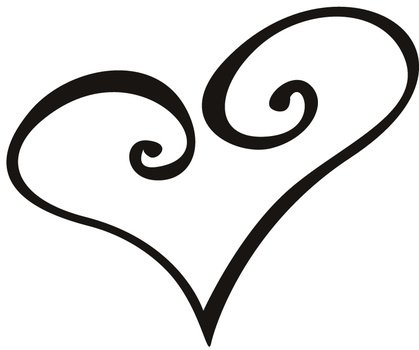 Black and white drawing of the love heart clipart