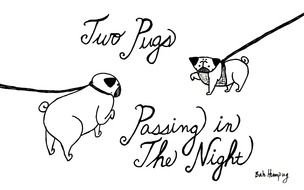 Black and white drawing of the Two Pugs clipart