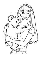 Barbie hugging koala, outline