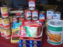 canned goods at the store counter