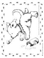 Black and white drawing of the dog clipart