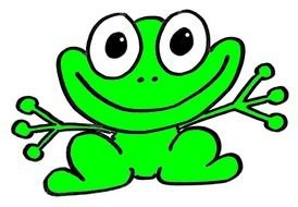 drawing of a happy green frog