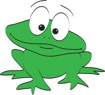 funny drawing of a green frog