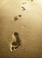 human being footprints on sand