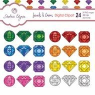 Different colorful jewels clipart