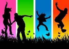 silhouettes of jumping people on the field on a colorful background