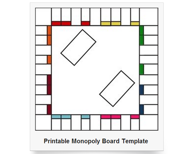 Printable Monopoly Game Board Template Free Image