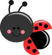 Cute Ladybug black red drawing