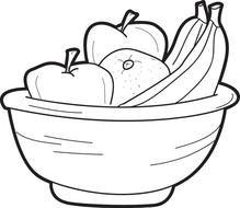 Fruit Bowl Coloring Page Printable