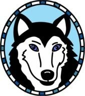 Husky, Dog head with blue eyes, drawing