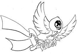 Black and white drawing of the dove tattoo clipart