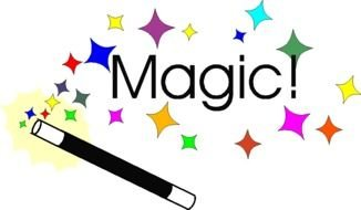 drawing of a magic wand with colored highlights