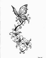 Butterfly and flower Tattoo Drawing