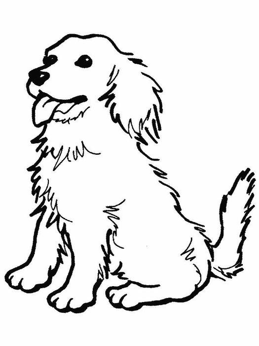 Black and white drawing of the cute sitting dog clipart