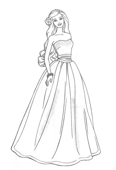 Black and white drawing of Barbie with the dress clipart
