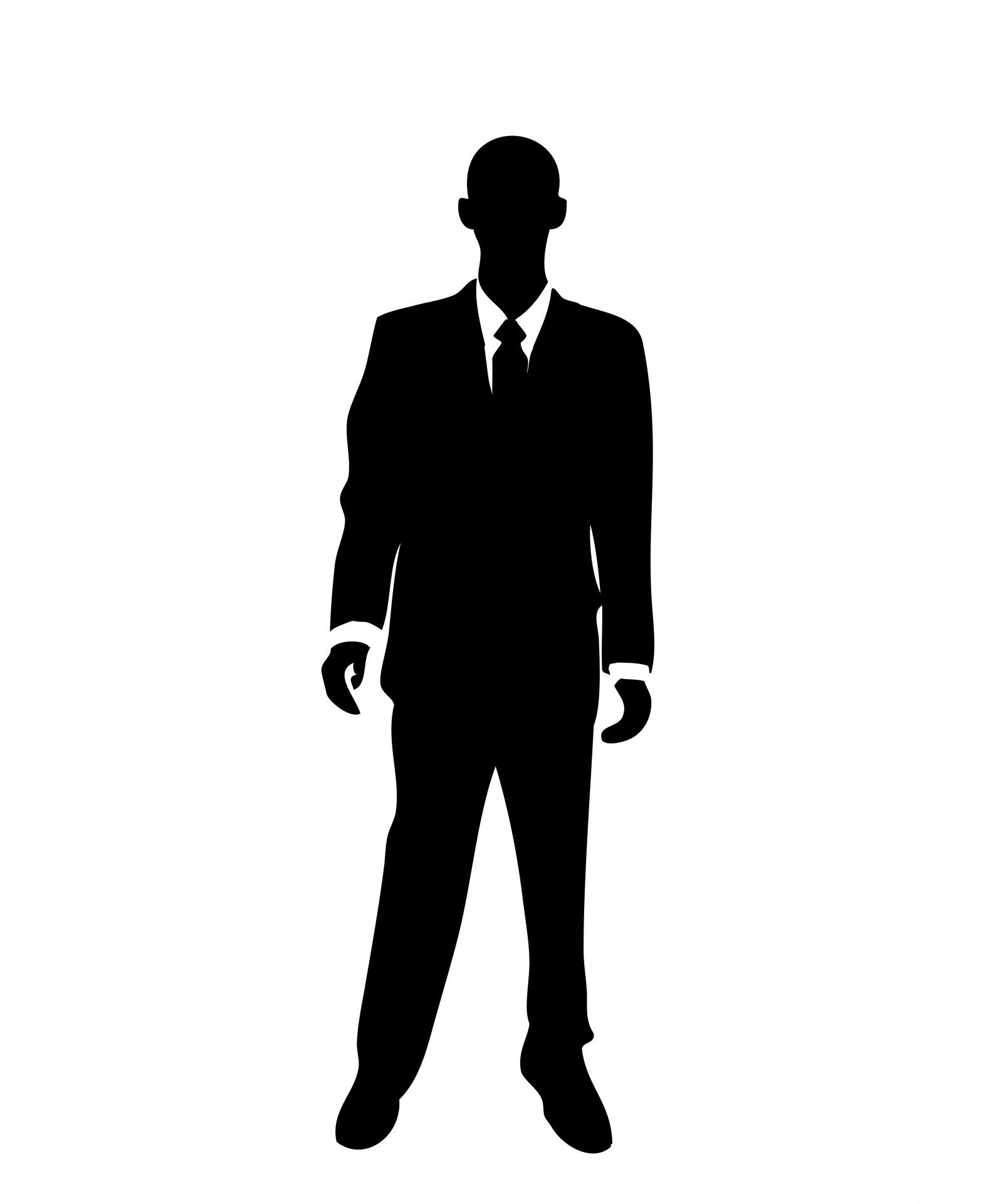 standing businessman silhouette cartoon royalty free - HD1605×1920