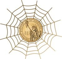 one dollar coin in cobweb