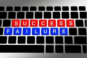 success and failure on the keyboard