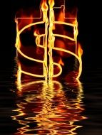 fire dollar symbol in water