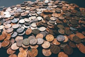 scattered old coins