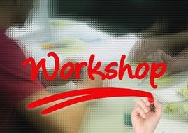 workshop like a red inscription