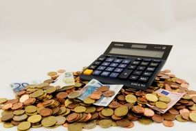 calculator on the background of banknotes and coins