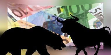 stock exchange bull and bear drawing