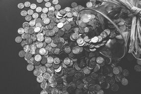 black and white photo of coins