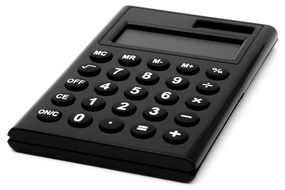 black calculator solar count on white surface