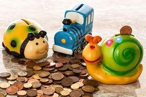 coins and colored toys