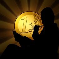 Male silhouette at the background of the euro coin