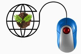 computer mouse near a green plant