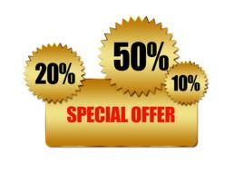 special offer banner with various percentages