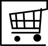 black and white icon of shopping cart