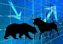 stock exchange bull bear securities drawing