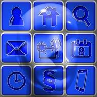 Blue picture of social network icons
