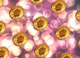 Clipart of twenty coins and pink lights