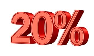 Clipart of red Twenty Percent symbol