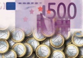 Clipart of euro coins and banknote
