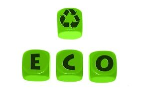 green buttons with letters and recycling symbol