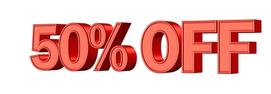 sale 50 % discount shop promotion banner red color drawing
