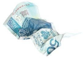 Crumpled banknote fifty euro