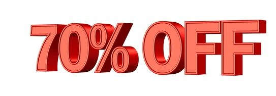 sale 70 % discount symbol banner shop promotion red color drawing