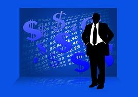 silhouette of a businessman on a blue background with a dollar sign