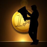 Clipart of euro icon and man silhouette