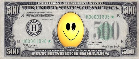 Smiley clipart on a dollar banknote